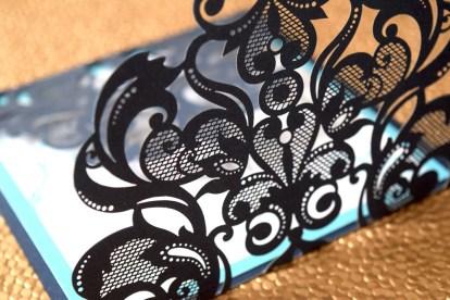 Laser-Cut Blue Gate-fold Close Up