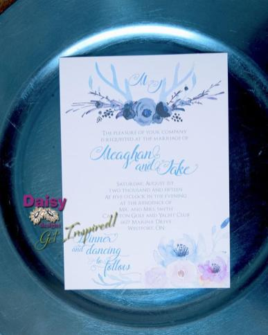 Antlers and Watercolour florals wedding invitation