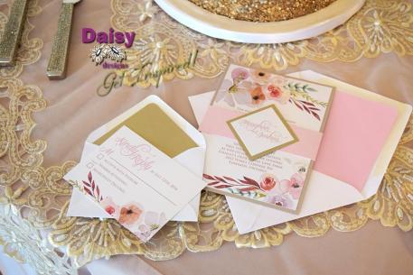 Blush Champagne Invite and RSVP