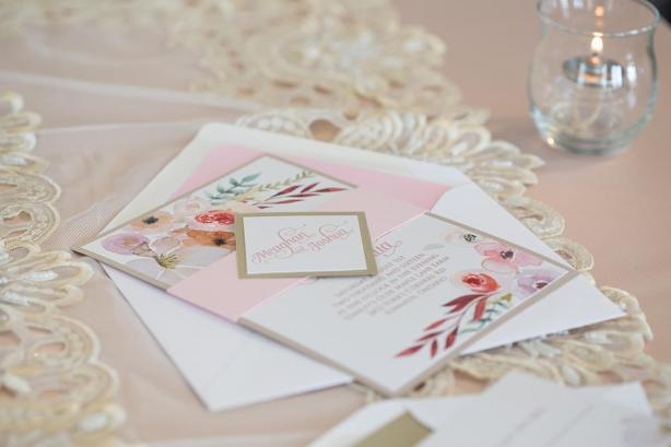 Blush Champagne invite and envelope