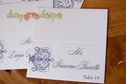 Sapphire Lace seating cards