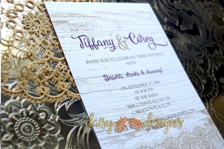 Faux Rustic Lace Wedding Invites