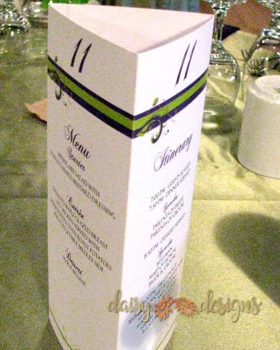 Purple Green Menu / Table number