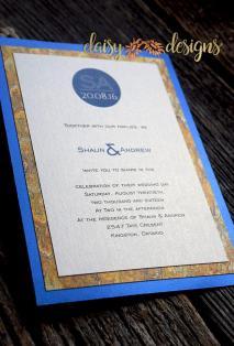 Blue Silk - Gold Marble invite