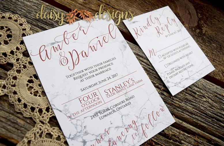 Marble Copper invitation and rsvp