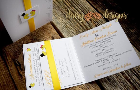 mr. and mrs. pacman wedding invitation and rsvp with matching ribbon and monogram