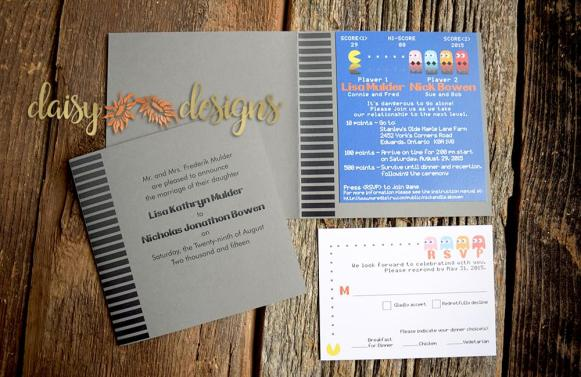 mr. and mrs. pacman wedding invitation and rsvp in a game cartridge styled folder