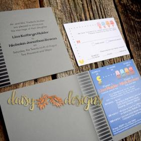 mr. and mrs. pacman wedding invitation and rsvp in a 1980's game cartridge styled tent-fold
