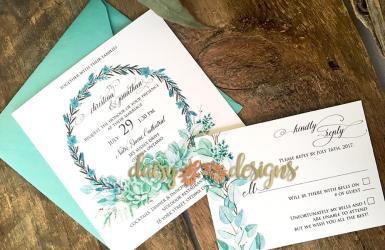 Succulent Wreaths invite and RSVP