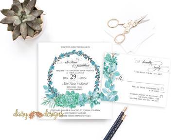 Succulent Wreath invite suite