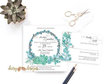 Succulent Wreath invite suite