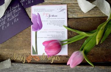 Purple Tulip invite with matching envelopes