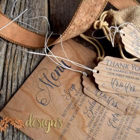 Real Wood Veneer Menus and Gift tags