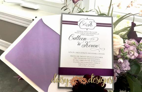 Plum Line invite with envelope and liner