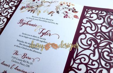 Cranberry and Cream laser cut invite close-up