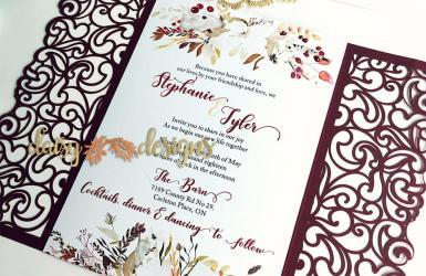 Cranberry and Cream laser cut invite