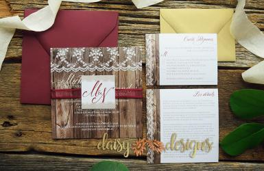 Antique Lacewood invite suite with options
