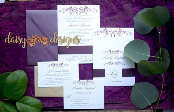Contemporary Merlot Wedding Invitation suite