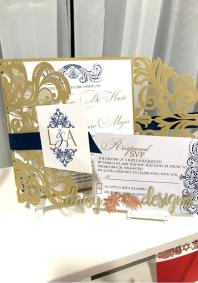 Elegant Gold laser-cut with Royal Navy accents and matching RSVP card