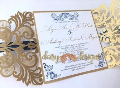 Elegant Gold laser-cut invite open