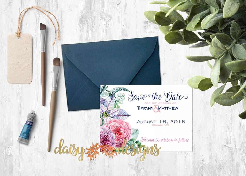 Peonie Blooms Save-The-Date card