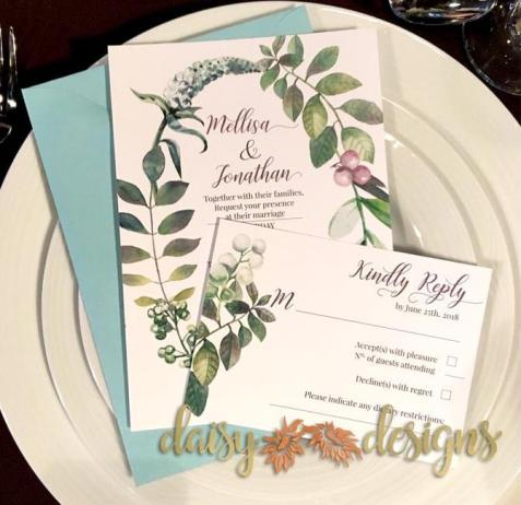 Berry Wreath invitations on place setting