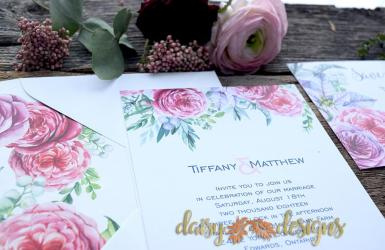 Ranunculous wedding invites close up