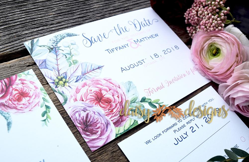 Ranunculous save-the-date card