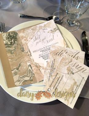 Sand Marble invite, rsvp and details cards