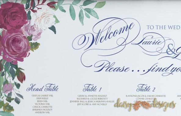 Floral Romance Seating Chart details