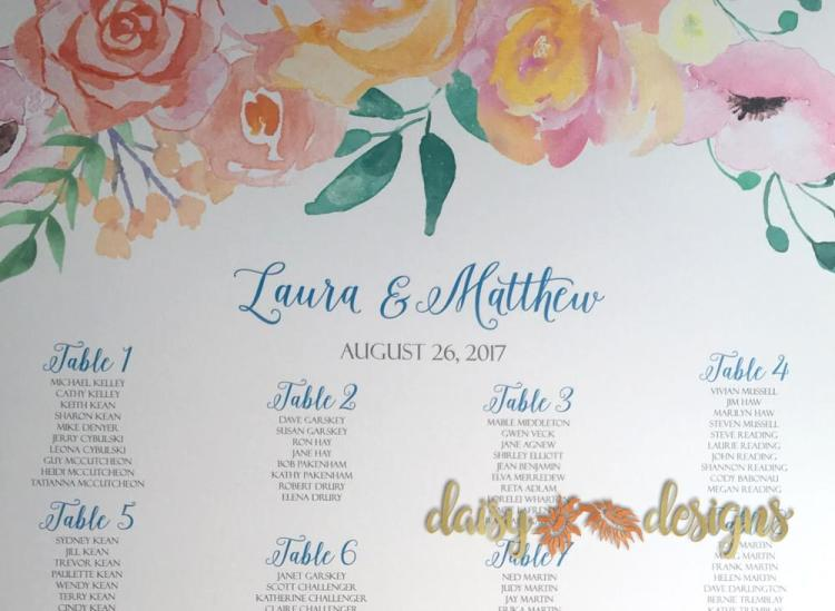 Peach Blush Seating Chart details