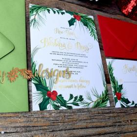 Holiday Holly Wedding Invitation suite