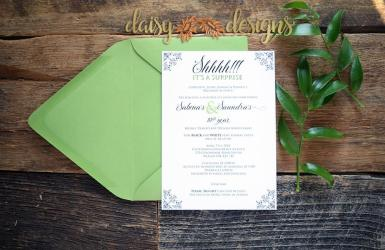 Apple Green Surprise invite and envelope