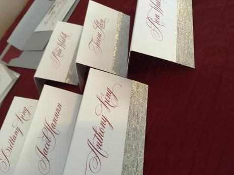 Scarlet and Silver place cards
