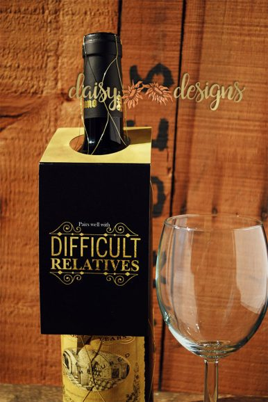 Difficult Relatives wine bottle tag