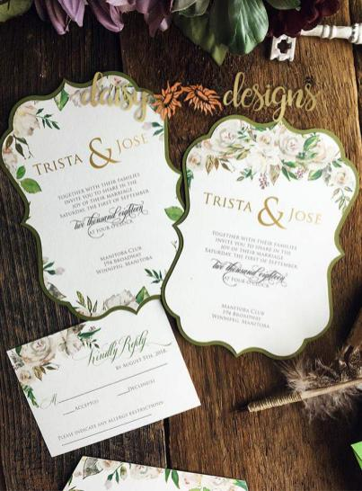 White Roses and Sage scalloped invites and rsvp