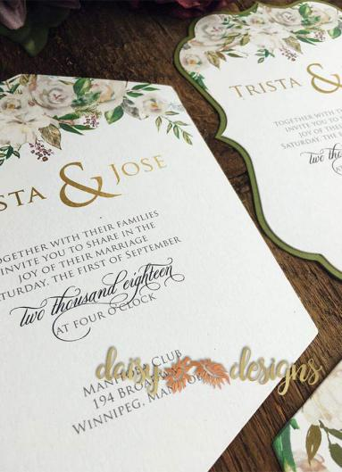 White Roses and Sage invites closeup