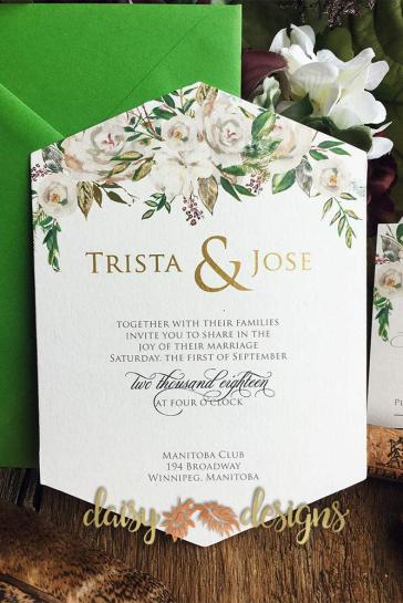 White Roses and Sage hexagonal invite