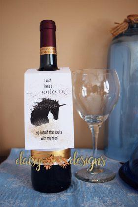 Unicorn Wine Bottle Tag