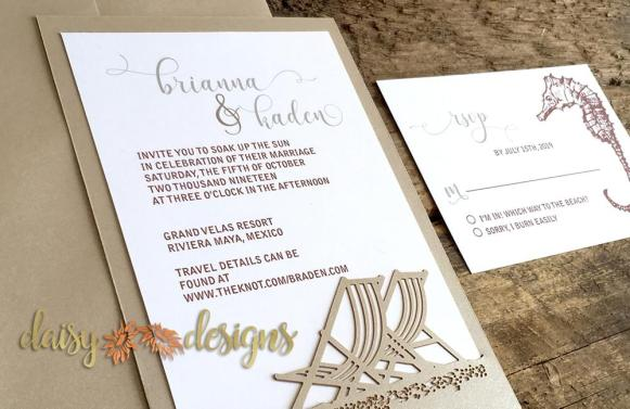 Beach Chairs laser cut invites details