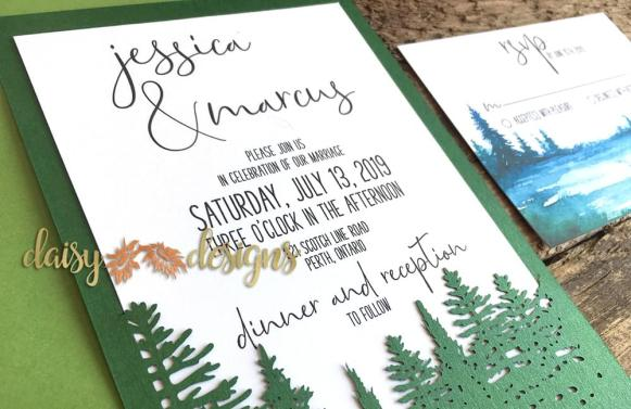 Evergreen Treeline laser cut invite details