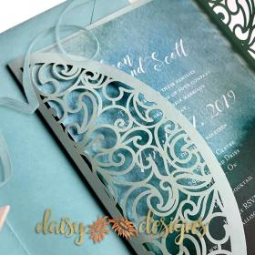 Swirl Gatefold - invite partly open