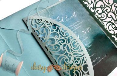 Swirl Gatefold - invite partly open