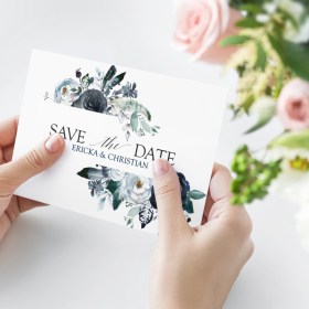 Midnight Peonies Save-The-Date card