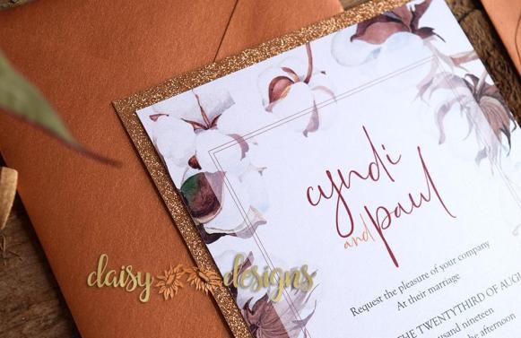 Cotton 'n Copper invite with glitter layer