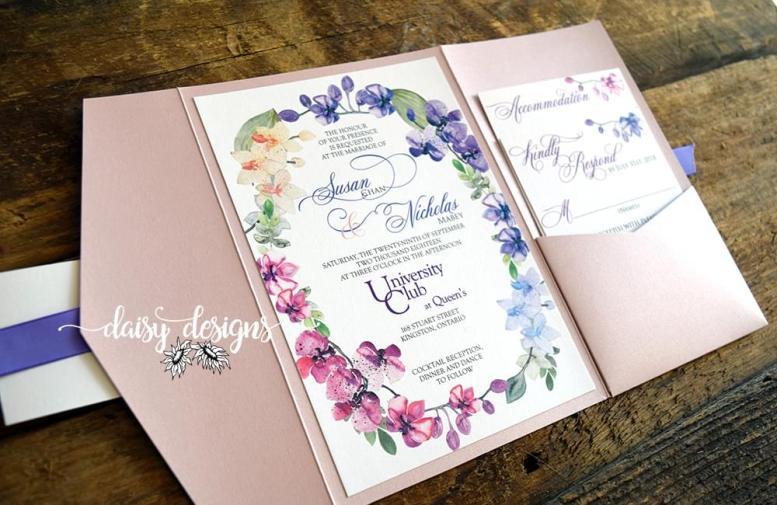 Orchids invitation pocket