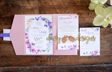Orchids invite, rsvp, pocket