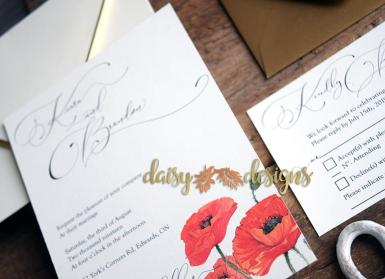 Watercolour poppies invite and rsvp