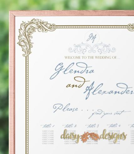 Ornate Filigree Seating Chart Details