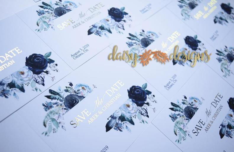 Foil Navy Save-the-date closeup